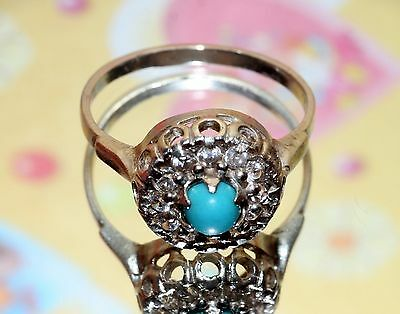 GORGEOUS Turquoise Vintage Ring Silver 925 USSR Soviet awesome!