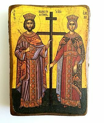Handmade Wooden Greek Christian Orthodox Wood Icon Of Saint Constantine & Helen