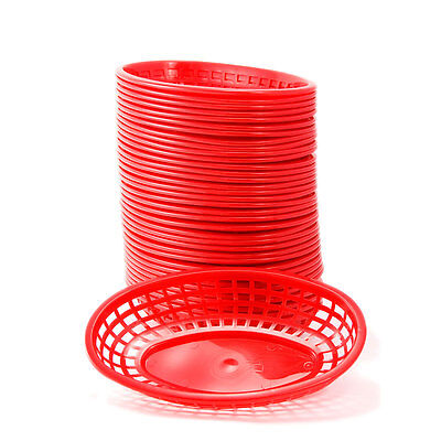 Plastic Deli Serving Baskets Red Set 36 Restaurant Diner Sandwich Serveware
