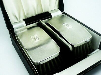 Pair Silver Backed Clothes Brushes & Comb, Sterling, Cased, Hallmarked 1958