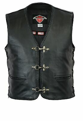 Texpeed Mens Quality Black Leather Waistcoat With Clip Fastening - Sizes S-10XL