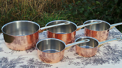 Set Five Vintage Pans French Stainless Steel + Copper Professional Quality 2053