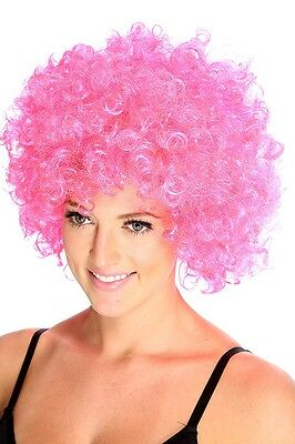 Curly Afro Pink Wig 70s 80s Jumbo Big Elasticated Adult Kids Unisex Stag Hen Do