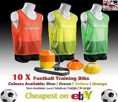 10 X Training Bibs Green Small Football Sports Team Vest Basketball Rugby Adult
