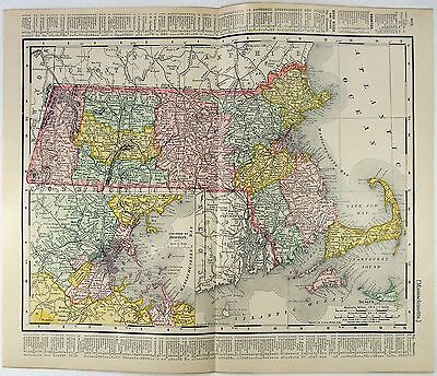 Original 1901 Map of Massachusetts by Rand McNally