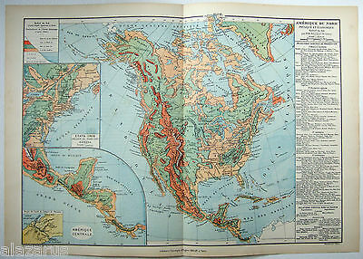 Original 1884 Physical & Economic Map of North America by Drioux & Leroy Paris