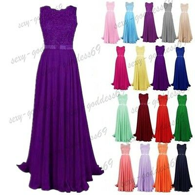 Long Chiffon Lace Evening Formal Party Ball Gown Prom Bridesmaid Dress 6-24New