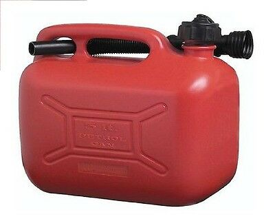 Jerrican Jerrycan Petrol Fuel Can Red Plastic 5 Litre Flexible Spout Italian
