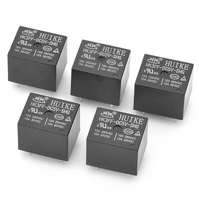 New 5 Pieces DC 5V 5 Pin Mini Power Relay HK3FF-DC5V-SHG Black