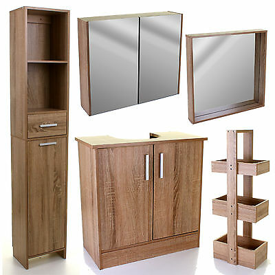 Wood Effect Bathroom Furniture Storage Cupboard Cabinet Caddy Mirror Under Sink