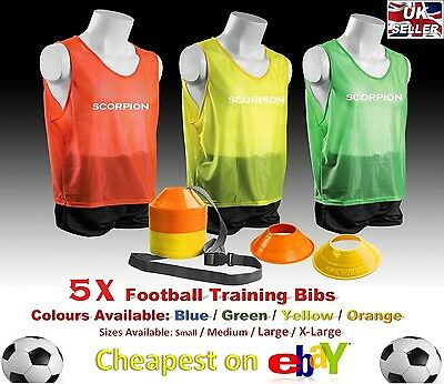 5 X TRAINING BIBS Fluorescent Yellow SMALL TEAM  VEST FOOTBALL BASKETBALL RUGBY