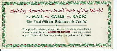 J-021 American Express Holiday Advertising Ink Blotter, 1930s Vintage