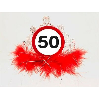 Traffic Sign 50th Tiara With Feathe