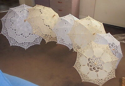 wedding bride parasol white OR ivory large medium small cotton lace CHOOSE