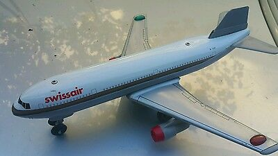 Vintage Nomura Airbus A-310 Swissair Toy Jet Airplane Hong Kong Battery Operated