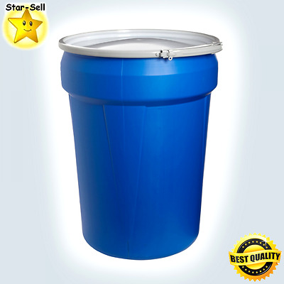 Portable Drum 30 Gallon Lock Lid Blue Storage Container Dent Resistant Barrel