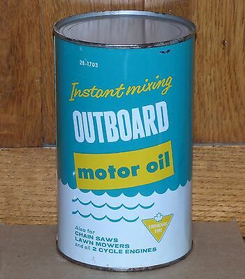 Rare full Canadian Tire OUTBOARD 1 Imperial Quart motor oil tin can FREE SHIP!