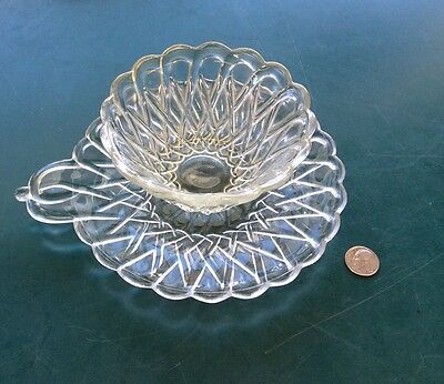 Hard To Find Vintage Indiana Pretzel Glass Small Bowl & Underplate