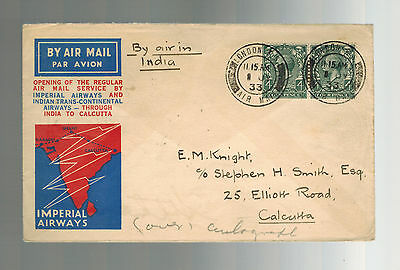 1933 England to Calcutta India First FLight Cover Stephen Smith Imperial Airways