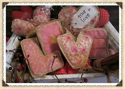 ❤Primitive True Love Letters Heart L O V E prim decor pink red 5 Valentines Day❤