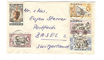 Nigeria Cover Ife Bronze Timber Cocoa Bridge & River Used Stamps 1960s
