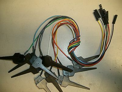 Tektronix TEK Logic probe leads with pincer clips, Color coded set of 10