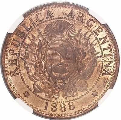 Argentina, copper 2 centavos, 1888, high final 8, encapsulated NGC MS 62 RB.