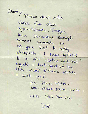 The Who Repro 1969 Hand Written Signed Pete Townshend Fanclub Letters X2 .not Cd
