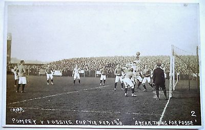 PORTSMOUTH v LEICESTER FOSSE F.A CUP TIE FEB 1908 PHOTOGRAPHIC FOOTBALL POSTCARD