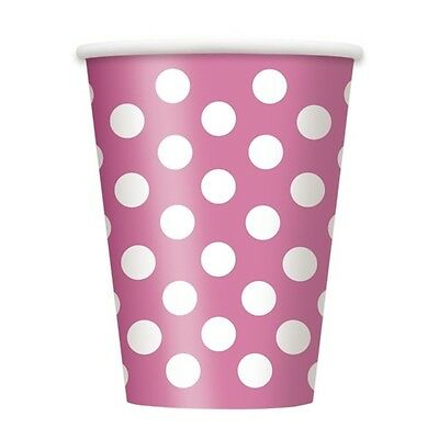 12oz Hot Pink Polka Dot Paper Cups, Pack Of 6