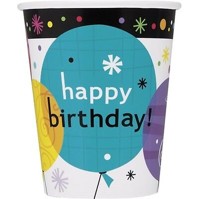 9oz Breezy Birthday Paper Cups, Pack Of 8