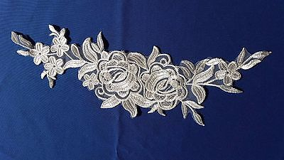 Bridal Ivory White Floral Embroidery Applique Motif Lace Sewing Trim EB0258