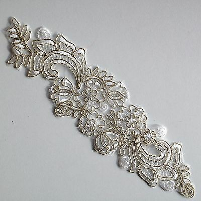 Gold Corded Ivory White Floral Embroidery Applique Motif Lace Sewing Trim EB0212