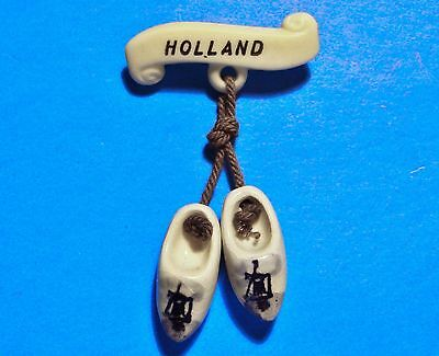 Holland - Netherlands - Wooden Shoe Styled Souvenir - Vintage Lapel Pin - Brooch