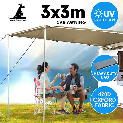 3m x 3m Awning Roof Top Tent Camper Trailer 4WD 4X4 Camping Car Rack Pull Out
