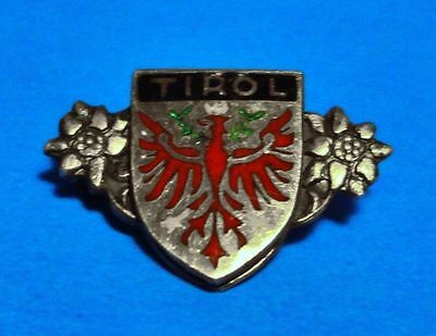 Tirol - Austria - Coat Of Arms - Edelweiss -Vintage Silver 900 Lapel Pin -Brooch