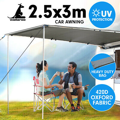 3m x 2.5m Awning Roof Top Tent Camper Trailer 4WD 4X4 Camping Car Rack Pull Out
