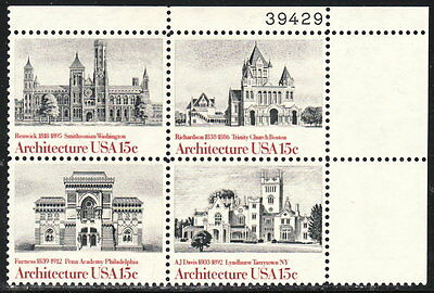 US #1841a 15¢ American Architecture Plate Block MNH