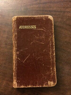 VINTAGE Mini brown Leather Used Address Book UPCYCLE REPURPOSE WRITING SCRIPT