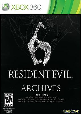 Resident Evil 6 Archives (Microsoft Xbox 360, 2012) Code Veronica X 4 HD, 5 Gold