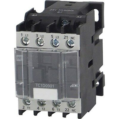 Europa Components TC1-D0910B7 Contactor 9A 4KW NO Auxilliary 24V