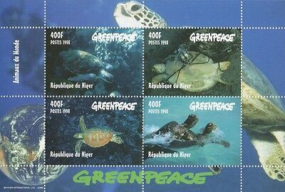 Greenpeace Animals Of The Wild Marine Life Sea Turtle 1998 Mnh Stamp Sheetlet