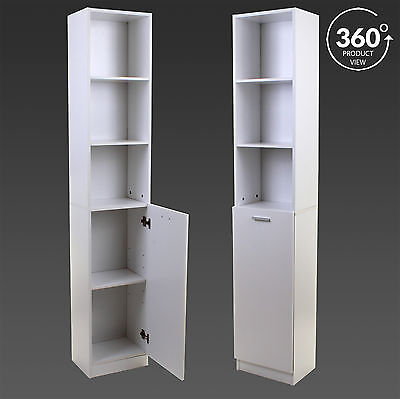 White Tall Boy Storage Unit Shelving Shelves Cupboard Cabinet Wooden Bathroom