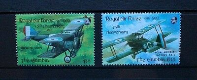 GAMBIA 1993 RAF 75th Anniversary Aircraft. 2 values. Mint Never Hinged.