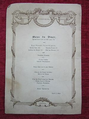 1924 Vintage Dinner Menu Card The Grand Hotel London April 9 Collectable fc6