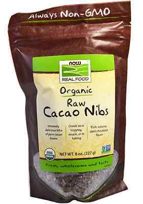 New Now Foods Real Food Certified Organic Natural Raw Cacao Nibs Daily Healthy