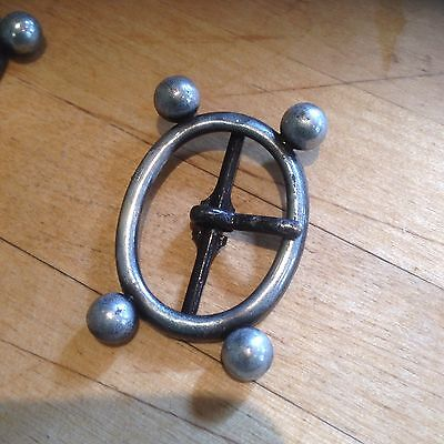 """Atomic Age Style Antique Pewter / Silver Buckle For 1"""" Strap"""