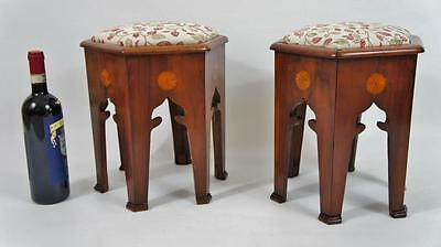 Pair of Edwardian inlaid Mahogany upholstered footstools - refurbished