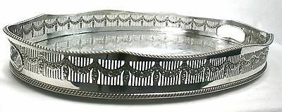 """Vintage Large Silver Plated Drinks Serving Tray Oval Chased Galleried 47 cm 18"""""""