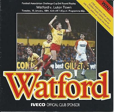 Watford v Luton Town 10th January 1984 FA Cup 3rd Rnd Replay Programme